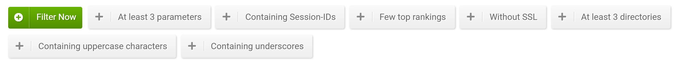 URLs filters in the SISTRIX Toolbox