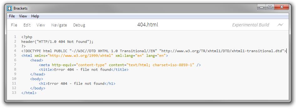 documento HTML de nuestra página de error se complementa con estas tres líneas de código PHP sobre el marcado HTML