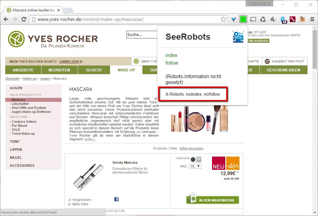 Falsche X-Robots Meta-Elemente auf jeder URL