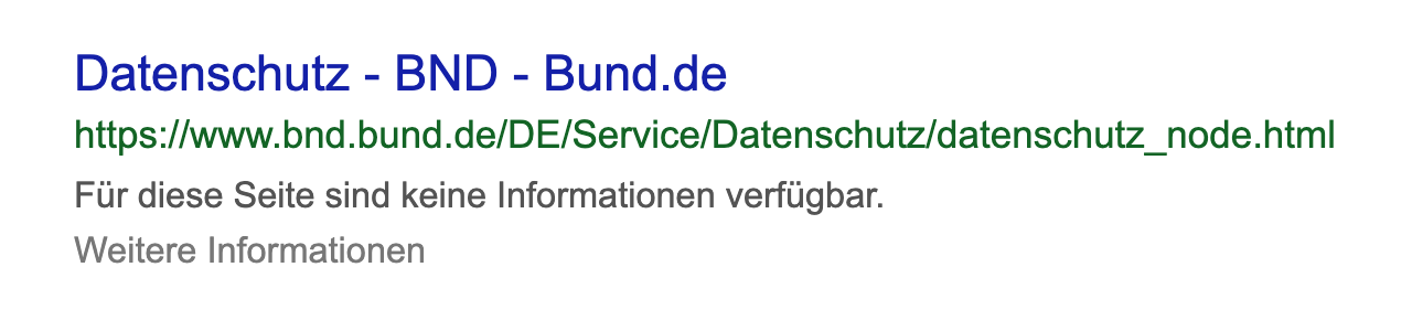 """Ejemplo de """"No hay información disponible para esta página"""" junto con un enlace a la página de ayuda de Google."""